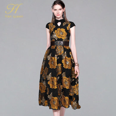 France Style Retro Jacquard Ball Gown Dress 2019