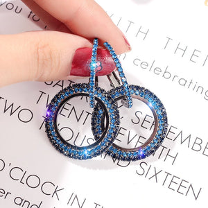 Trendy Blue and Rose Gold Color Drop Earrings for Women Cubic Zirconia Rhinestone Crystal Dangle Earrings Fashion Jewelry Female