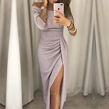 Load image into Gallery viewer, Women Off Shoulder  Party Dress 2018 High Slit Peplum Dresses Autumn Elegant Women's Bodycon Dress Vestidos