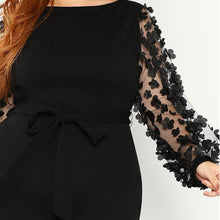Load image into Gallery viewer, Elegant Black Pencil Dress With Applique Mesh Lantern Sleeve
