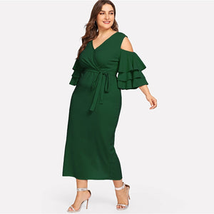 Belted Green Ruffle Wrap Maxi