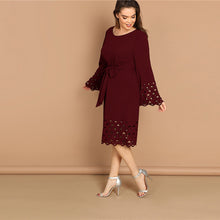 Load image into Gallery viewer, Burgundy Flounce Sleeve Midi