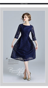 Olivia-Blue Lace Hollow Out Dress