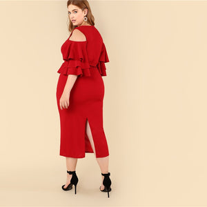 Plus Size Red Cold Shoulder Ruffle Dress 2019