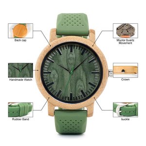 High Quality Silicone Strap Green Wooden Watch