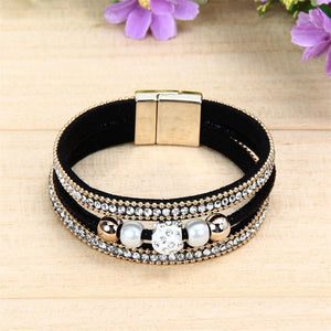 Luxury Leather Crystal Bracelets