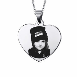 Personalized Name Photo Heart Pendant