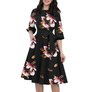 Evergreen Floral Dress With Belt