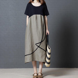 Plus Size Summer O Neck Cotton Linen Dress