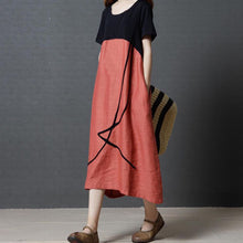 Load image into Gallery viewer, Plus Size Summer O Neck Cotton Linen Dress