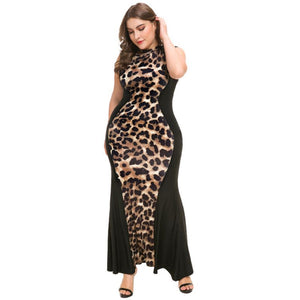 Leopard Print Fishtail Bandage Dress