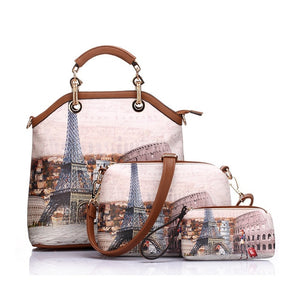 PU Leather 3PC Printed Handbags