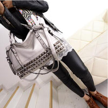 Load image into Gallery viewer, Silver/Black Cowhide Stunning Shoulder Handbag (Most Popular)