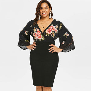Estylo Floral Plunging Neck Dress