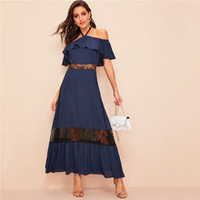 Load image into Gallery viewer, Glamorous Halter Off Shoulder Ruffle Maxi