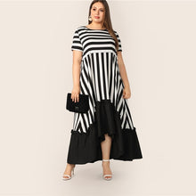 Load image into Gallery viewer, Glamorous Low Hem Stripe Dress 2019