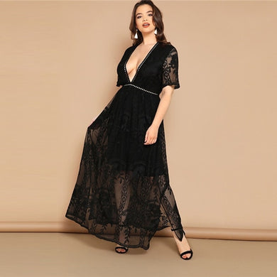 Stunning Black Eyelet Lace Dress