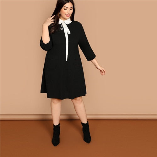 Estylo Tie Neck Collar Preppy Style Dress
