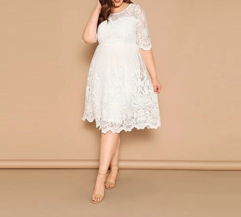 White Embroidered Mesh Overlay Dress