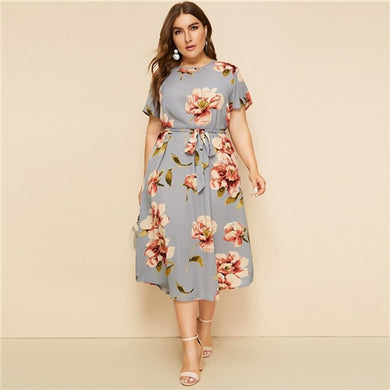 Amy-Floral Belted Stunning Dress