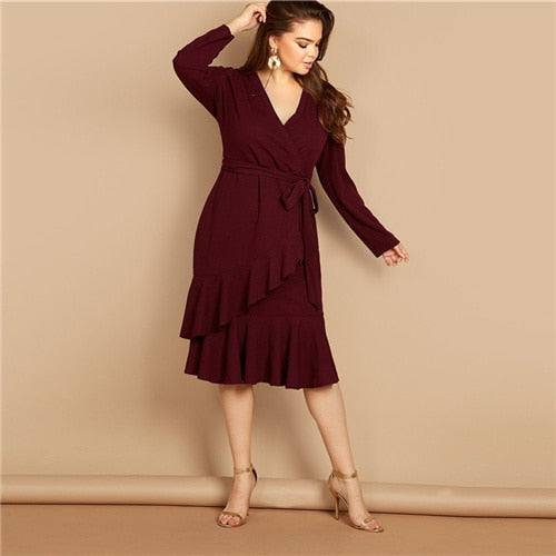 Burgundy Frill Wrap Dress