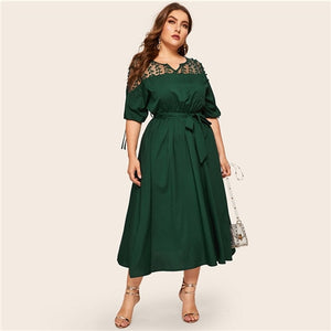 Estylo Elegant Cuff Lace Up Belted Dress