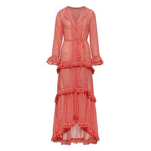 Load image into Gallery viewer, Belle - Stylish Plaid Layered Asymmetrical Ruffle Dress