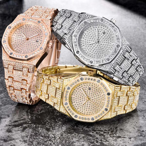 Unisex Jumbo Fully Iced Out Quartz Watch