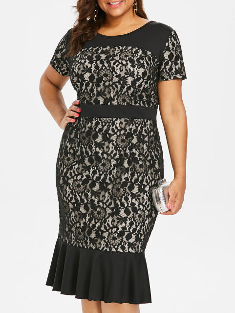 New Evergreen O-Neck Lace Panel Midi