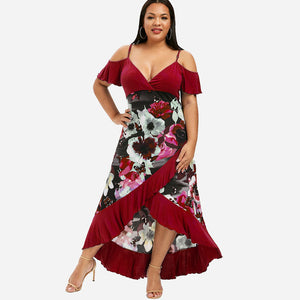 Estylo Summer Fashion Wrap Ruffle Dress