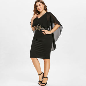 Plus Size V Neck Gorgeous Embroidery Dress