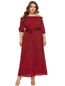 ESTYLO Plus Size Off Shoulder Boho Belted Dress