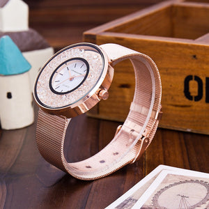 Luxury Steel Rose Gold & Silver Band Watch