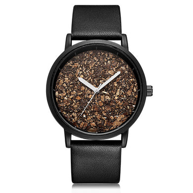 Women/Men Natural Gravel Stone Designer Wristwatch