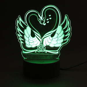 Swan Couple and Heart Lamp