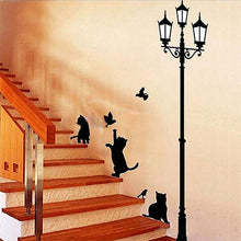 Load image into Gallery viewer, Home Decoration 4 Little Cat Under Street Lamp DIY Wall Sticker