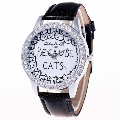 Because Cats Printing Luxury Quartz Watch