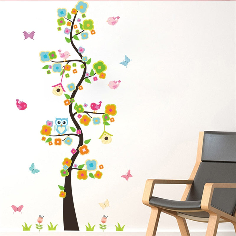 Garden Flower Tree Branches Owl Wall Art