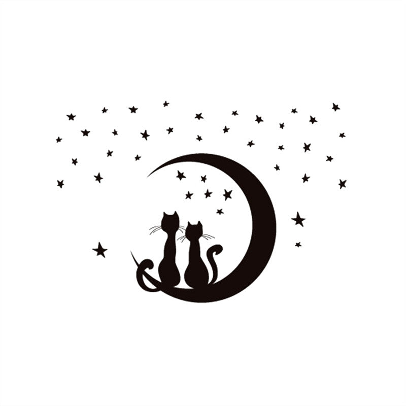 Two Cats Sitting on Moon Enjoying Stars Moonlight Wall Sticker