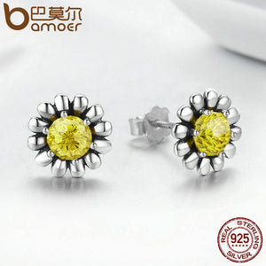 100% Genuine 925 Sterling Silver Yellow Daisy Flower Ring