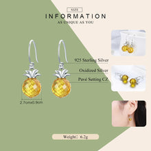 Load image into Gallery viewer, 100% 925 Sterling Silver Hanging Pineapple Crystal Earrings
