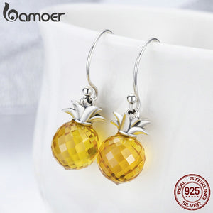 100% 925 Sterling Silver Hanging Pineapple Crystal Earrings