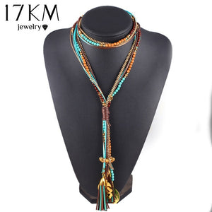 Multi Layer Beads Long Necklace