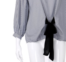 Load image into Gallery viewer, Bandage Striped Lantern Blouse