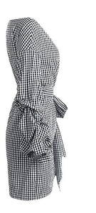 Off shoulder plaid wrap Elegant Dress