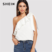 Load image into Gallery viewer, Elegant White Trim Knot One Shoulder Top