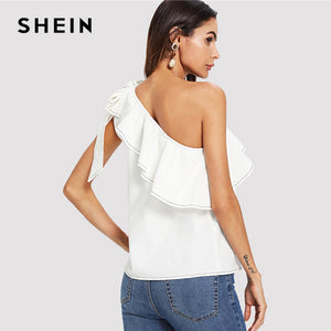 Elegant White Trim Knot One Shoulder Top