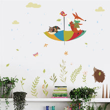 Load image into Gallery viewer, Cute Owl Fox Bird Umbrella Wall Art