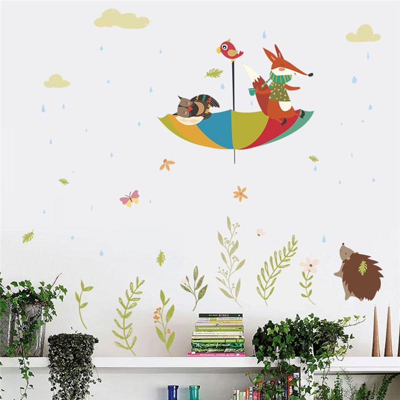 Cute Owl Fox Bird Umbrella Wall Art