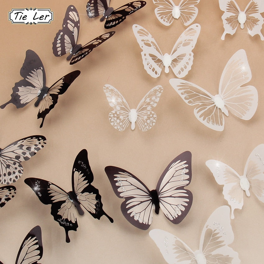 18PCS/lot 3D Crystal Butterfly Wall Sticker Art Decal
